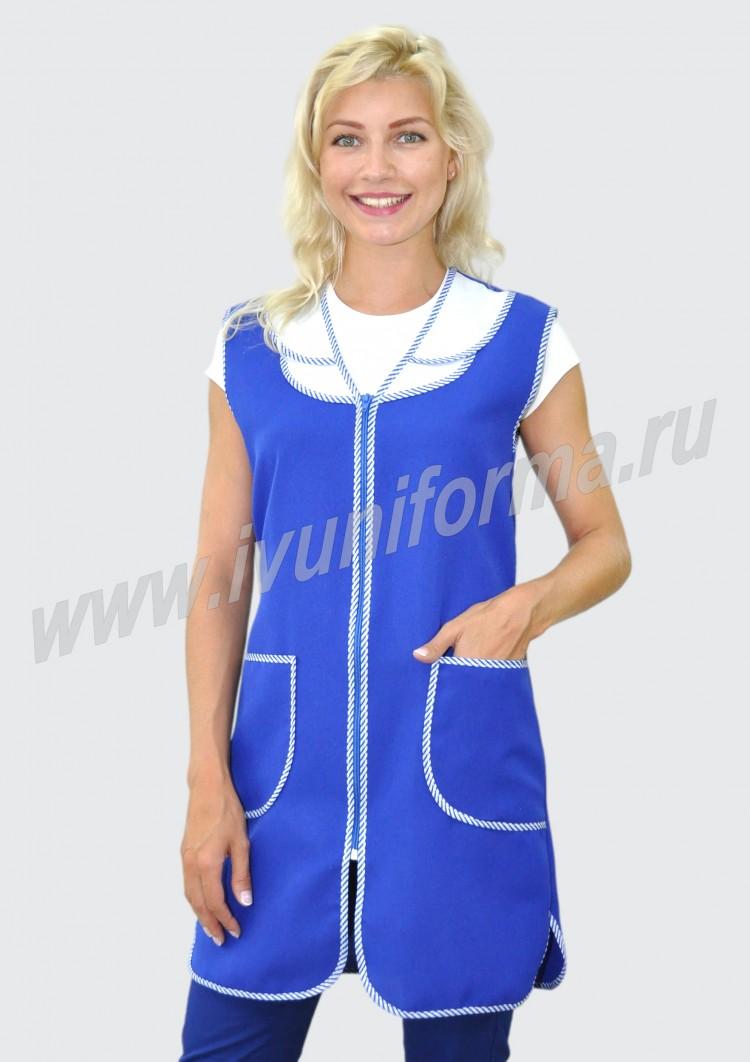 c46f1980c2c0326 Сарафан для продавца Ромашка габардин василек с белым в интернет магазине  за 284 руб.